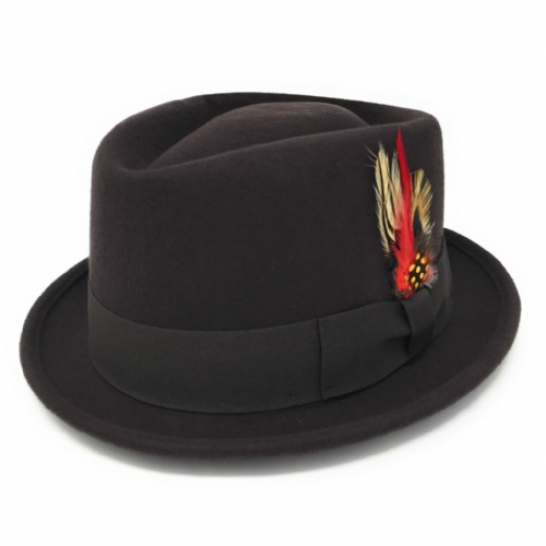 Brown Pork Pie/Trilby Hat - Diamond Crown. Lined. Premium Wool